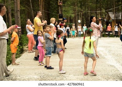 Petropavlovsk, Kazakhstan - May 28, 2016: GREEN PARK Luxury Family Park Hotel. Children and parents relax, play, dance. The resort area Petropavlovsk, Kazakhstan.