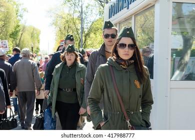 Petropavlovsk, Kazakhstan - MAY 9, 2016: Victory Day on May 9, 2016 in Petropavlovsk, Kazakhstan. In memory of the war dead. Members happy.
