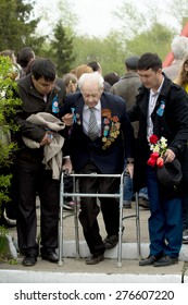 Petropavlovsk, Kazakhstan - MAY 9:Victory Day celebration,  the memory of soldiers in Great Patriotic War. May 9, 2015 in Petropavlovsk, Kazakhstan