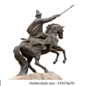 Petropavlovsk, Kazakhstan - October 4, 2016: Monument Ablai Khan, on his horse, made of granite.
