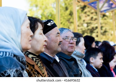 PETROPAVLOVSK MAY 7 2016: Public holiday. Defender of the Fatherland Day, celebrated on May 7 in Kazakhstan. Soldiers and military. Mass celebrations people.