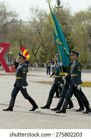 """PETROPAVLOVSK MAY 7: Public holiday """"Day of the Armed Forces of Kazakhstan"""" May 7, 2015, Kazakhstan,  soldiers and military."""