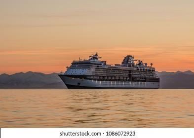 Petropavlovsk-Kamchatsky, Kamchatka Peninsula / Russia - 05 14 2017: Celebrity Millennium in Avacha Bay