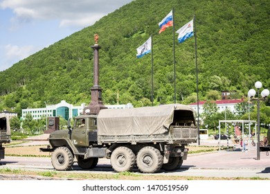Petropavlovsk-Kamchatsky, Kamchatka / Russia - July 22 2019: Six wheel off road all terrain vehicles of Russian origin, meant for transporting military as well as civilians in harsh road conditions.
