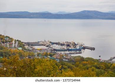 Petropavlovsk-Kamchatsky, Russia- 26 September 2014: View of port Petropavlovsk-Kamchatsky, Avachinskaya Bay , Avacha Bay. Russian Far East, Kamchatka Peninsula.