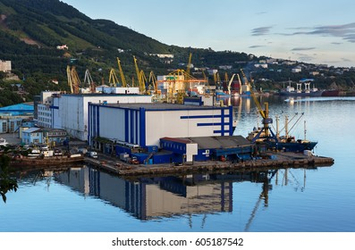 Petropavlovsk-Kamchatsky, Russia - August 14, 2016: Sea cargo port in the city of Petropavlovsk-Kamchatsky.