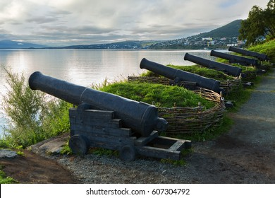 Petropavlovsk-Kamchatsky, Russia - August 14, 2016: Cast iron guns at the location of the third battery Maksutova in the city of Petropavlovsk-Kamchatsky.