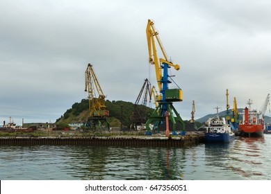 Petropavlovsk-Kamchatsky, Russia - August 28, 2016: Port cargo cranes in the Avacha Bay.