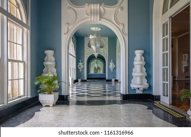 Petropolis, Brazil - Nov 8, 2017: Corridor at Quitandinha Palace former Casino Hotel - Petropolis, Rio de Janeiro, Brazil