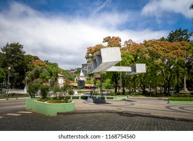 Petropolis, Brazil - Nov 9, 2017: 14 Bis Square monument to the first airplane of Santos Dumont - Petropolis, Rio de Janeiro, Brasil