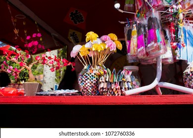 PETROPOLIS, RIO DE JANEIRO / BRAZIL - August 13, 2017: Oriental art products with origami and bonsai at the festival of Japanese culture in honor of Japanese immigrants in the Imperial City of Petropo