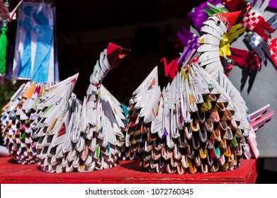 PETROPOLIS, RIO DE JANEIRO BRAZIL - August 13, 2017: Birds made in Origamis at the Festival of Japanese Culture in honor of the Japanese immigrants in the Imperial City of Petropolis - Bunka-Sai