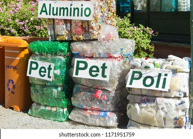 PETROPOLIS, RIO DE JANEIRO  BRAZIL- JUNE 25, 2018 containers of aluminum cans, plastic bottles and other materials - packaged in bundles with recyclable, ecological and industrial nameplates