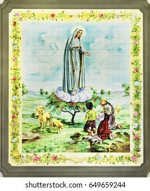 PETROPOLIS, RIO DE JANEIRO / BRAZIL - May 02, 2017: Mosaic panel of tiles with image of Our Lady of Fatima - internal wall of the Church of the Rosary