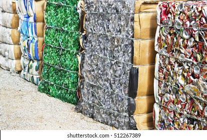 PETROPOLIS, RIO DE JANEIRO/BRAZIL-1 July 2016: aluminum cans, plastic bottles and other materials packaged for recycling industrial-ecological awareness
