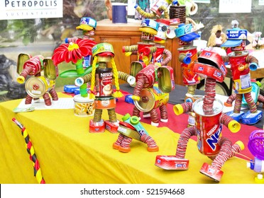 PETROPOLIS, RIO DE JANEIRO/BRAZIL-1 July 2016: exhibition and sale of toys made from recycled trash-recycling-environmental education project