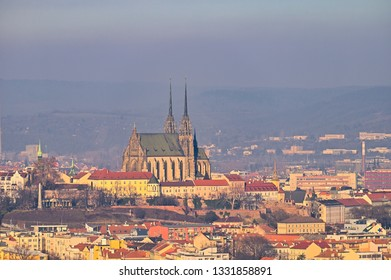 Petrov. Cathedral of Saints Peter and Paul in Brno old city in the Czech Republic in winter. Europe.
