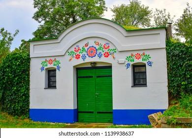 Petrov - Plze, Czech Republic - July 14, 2018: Wine cellars in Petrov Plze. Winemaking region in South Moravia, Czech Republic.