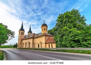 Petrovaradin, Serbia - May 02, 2018: Church of the Snow Lady on Tekija, Serbia. The church is a typical Roman Catholic church.