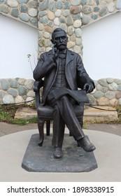 Petrovo village, Borovsky district, Kaluga region-november, 2020: Bronze sculpture of Alfred Nobel in the Etnomir tourist complex.