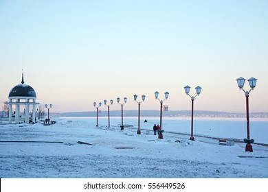 Petrozavodsk city embankment on the sunset. Onego lake bank in Petrozavodsk, Russia