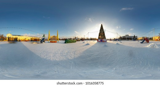 Petrozavodsk, Karelia. Christmas tree on the square. Spherical, 360 degrees panorama.