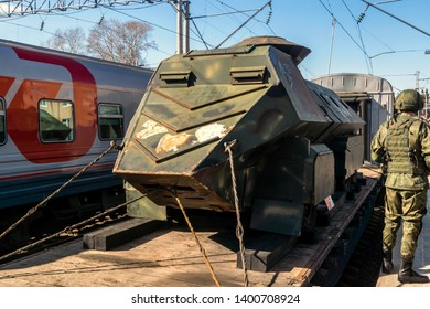 Petrozavodsk, Russia, 04.23.2019 Armored vehicles of terrorists captured by Russians in Syria