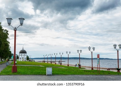 Petrozavodsk, Russia, 08.26.2017. Quay in the city on a sunny day