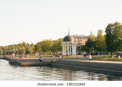 Petrozavodsk, Russia - 12 September 2015: Embankment of lake Onego in Petrozavodsk city