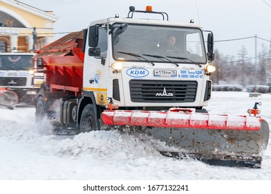 Petrozavodsk, Russia - 16 December 2019. snowplow at work. motion blur