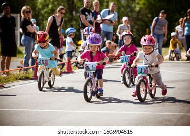 Petrozavodsk, Russia, 17 june 2018: Children's competitions on bicycles and balance bikes. Public sport event in a city park
