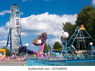 Petrozavodsk, Russia 17 Jyly 2016: Rides in an amusement park
