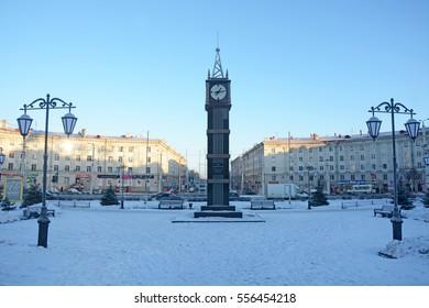 PETROZAVODSK, RUSSIA- JANUARY 09, 2017: Central street- Prospect Lenina in Petrozavodsk, Karelia Republic