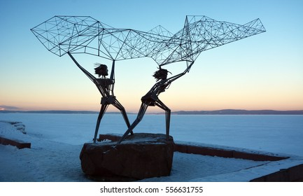 "PETROZAVODSK, RUSSIA- JANUARY 09, 2017: ""Fishermans"" sculpture in Petrozavodsk, Karelia Republic. Symbol of Friendship between Russia and America"