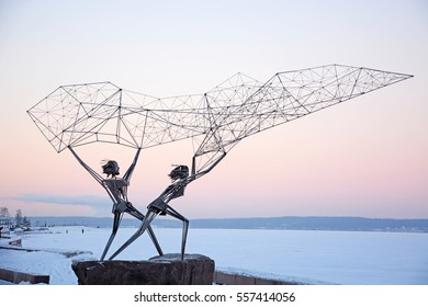 "PETROZAVODSK, RUSSIA- JANUARY 09, 2017: ""Fishermans"" sculpture in Petrozavodsk, Karelia Republic. Symbol of Friendship between Russia and America"
