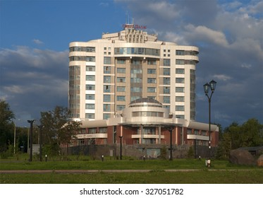 "PETROZAVODSK, RUSSIA - JULY 29, 2012: Central hotel ""Onego-Palace"" cloudy summer morning"