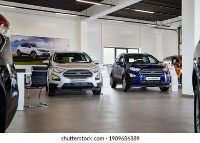 Petrozavodsk, Russia - June 19, 2019: Cars in showroom of dealership Nissan in Petrozavodsk city in Russia