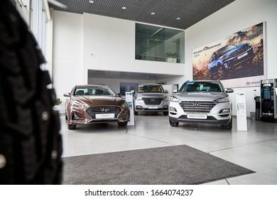 Petrozavodsk, Russia - June 21, 2019: Cars in showroom of dealership Hyundai in Petrozavodsk city in Russia
