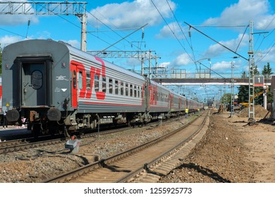 PETROZAVODSK, RUSSIA - JUNE 23, 2018: Passenger fast train awaits passengers at the railway station of Petrozavodsk