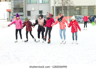 Petrozavodsk,Russia-January 12TH,2019: Girls skate at the city stadium