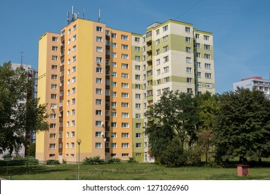 Petrzalka, Slovakia,  August 22, 2017 :  The apartment building from the socialist era of Bratislava still being used and maintained to this day.