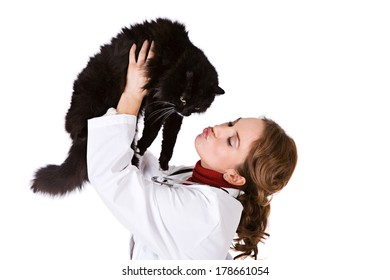 Pets: Vet Holds Black Kitty In The Air