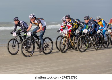 PETTEN/THE NETHERLANDS - FEBRUARY 2ND: National Championship Beachbiking in progress. 700 unidentified cyclists battle for the first national championship on February 2nd, 2014 in the Netherlands.