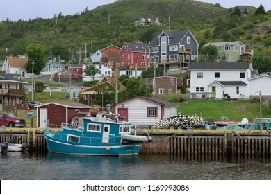 PETTY HARBOUR, NEWFOUNDLAND/CANADA - JULY 24, 2018: Colorful and historic harbor on a summer afternoon in Petty Harbour