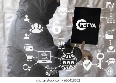 Petya Ransomware Safety Hacking Attack Web Mobile Computer Concept. Hacker touched tablet computer with petya trojan virus gear icon on virtual screen.