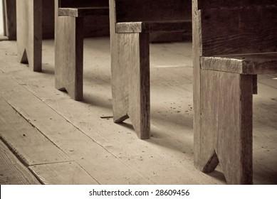 pews at an abandoned church