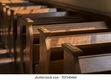 Pews in a historic church in the Netherlands