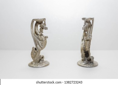 Pewter Dragons Game of Throne Style mini candle holder isolated on a white background 28th April 2019, Port Klang, Selangor, Malaysia