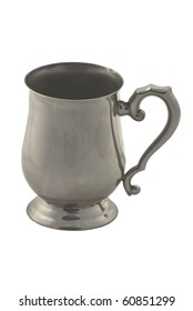 Pewter Drinking Tankard Isolated on White