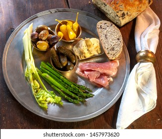 Pewter plate of party appetizers